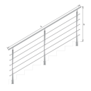 Nerezové zábradlí - hranaté, na schody, vrchní