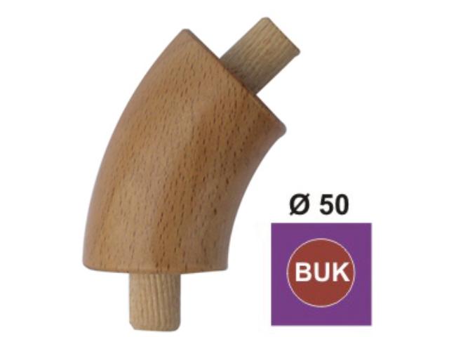 Elbow, non-lacquered. BUK (BEECH), D50mm/45°