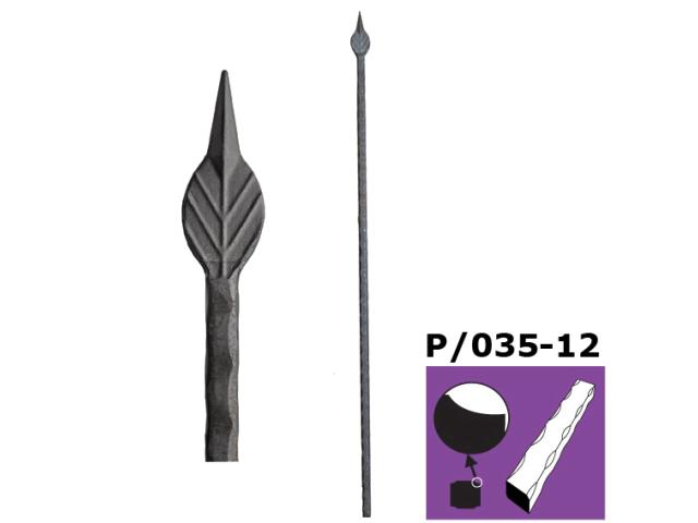 Tyč s hrotom h900, b35, P/035-12x12mm