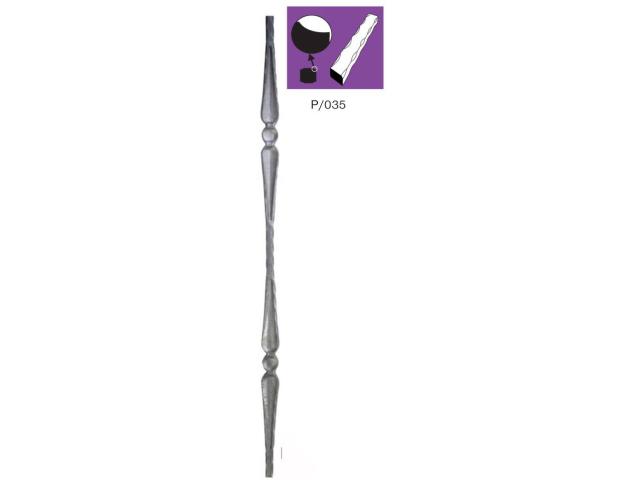 Zierstab mit 2x Element P/035A-12, 30x900mm