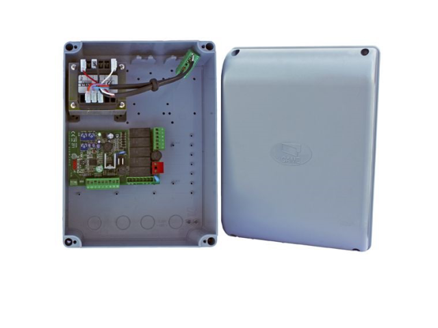 Electronics cabinet for double-leaf gate