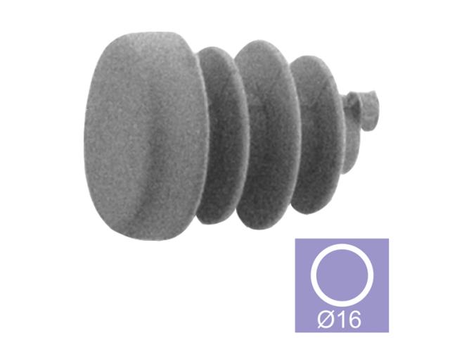 Záslepka - šedá PVC, d16mm
