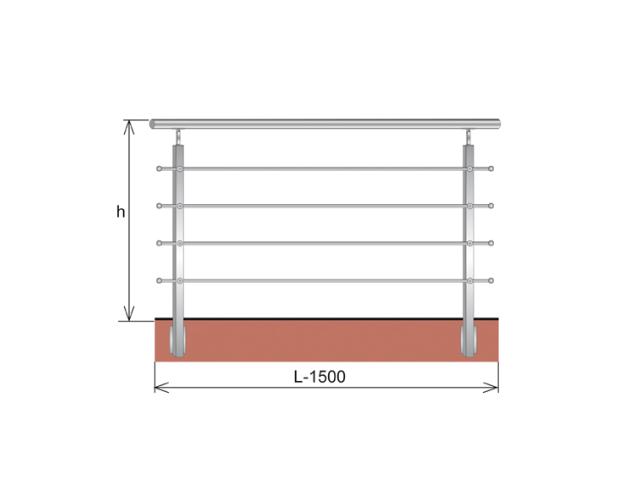 Railing JP, BR AISI304, 40x40x2/4xd12/H900/L1500mm