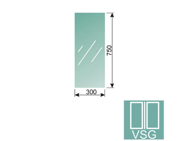 Clear, laminated glass 8,76-300x750-VSG