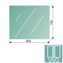 Clear, laminated glass 8,76-900x750-VSG