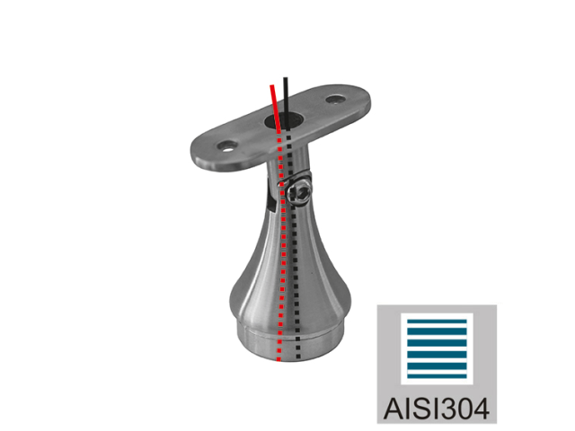 Handrail bracket AISI304, 40x40x2/d42,4x2/H68mm