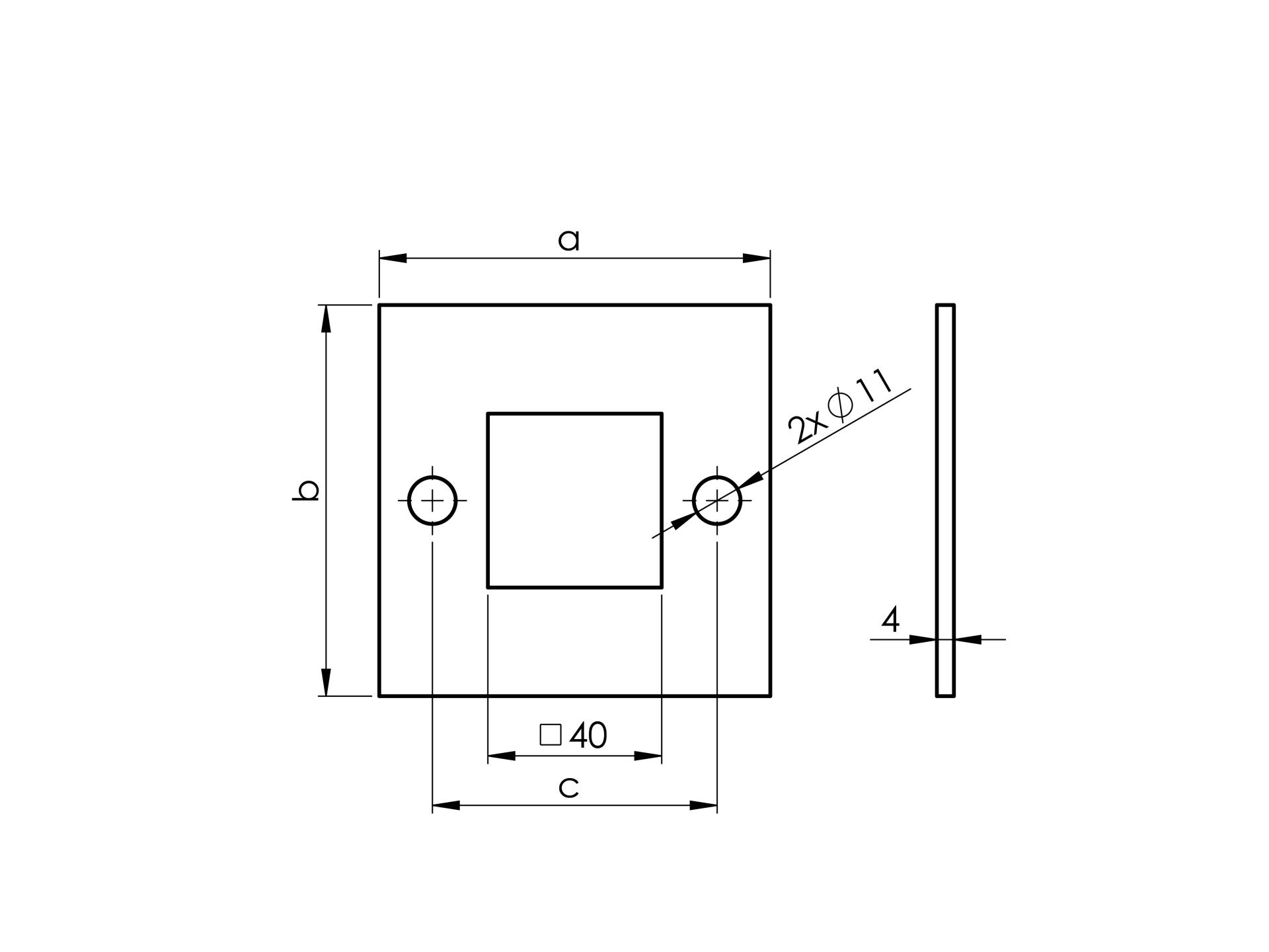 Kotvení vrchní - příruba čtyřhr. AISI304, 100x100,