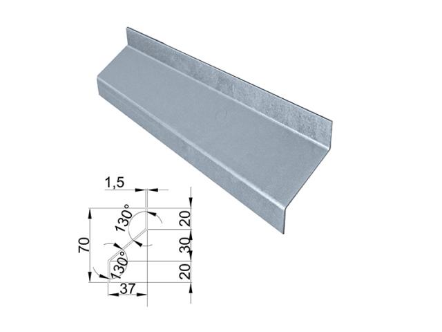 """Ocelová lamela Zn 37x70x2000mm """"Z"""""""