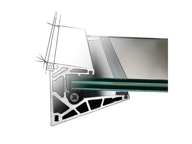 Presklená strieška hliník profil 100x80mm +2°