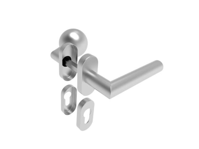 Kľučka guľa pevná - pár, AISI 304, K320, L135mm