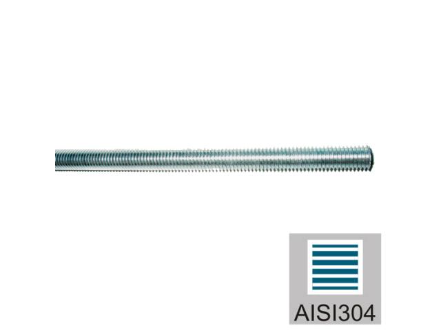 Rozsdamentes menetesszár AISI304, M6/L3000mm