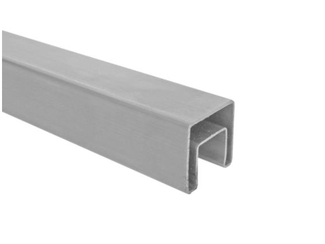 AL square handrail with plow for glass, 24x24/6000
