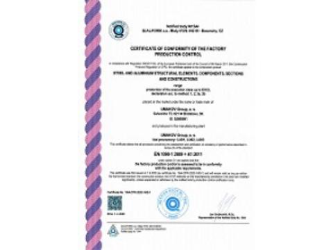 Dokumentácia kvality - Osvedčenie o zhode riadenia výroby