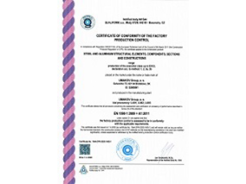 Documentation of quality - Certificate of conformity of the factory production control