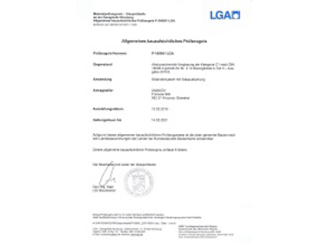Documentation of quality - Certificate LGA of glass clamps