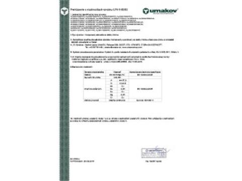 Dokumentácia kvality - Prehlásenie o vlastnostiach výrobku č.PV-1-6063